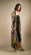 teal poppies chiffon kimono dress
